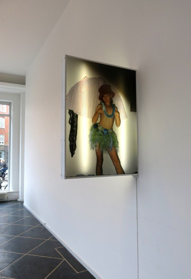Nanna Abell: Uden titel (Halo by proxy), 2014. Lyskasse, akryl-print, plastik, polykarbonat, 110 x 80 x 10 cm. På TREUDDK, Galleri Susanne Ottesen. Foto: Galleri Susanne Ottesen