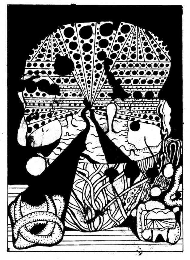Zven Balslev: fra Regression, 2012, cult pump comix, tusch og retteblæk på papir. Courtesy Marie Kirkegaard Gallery