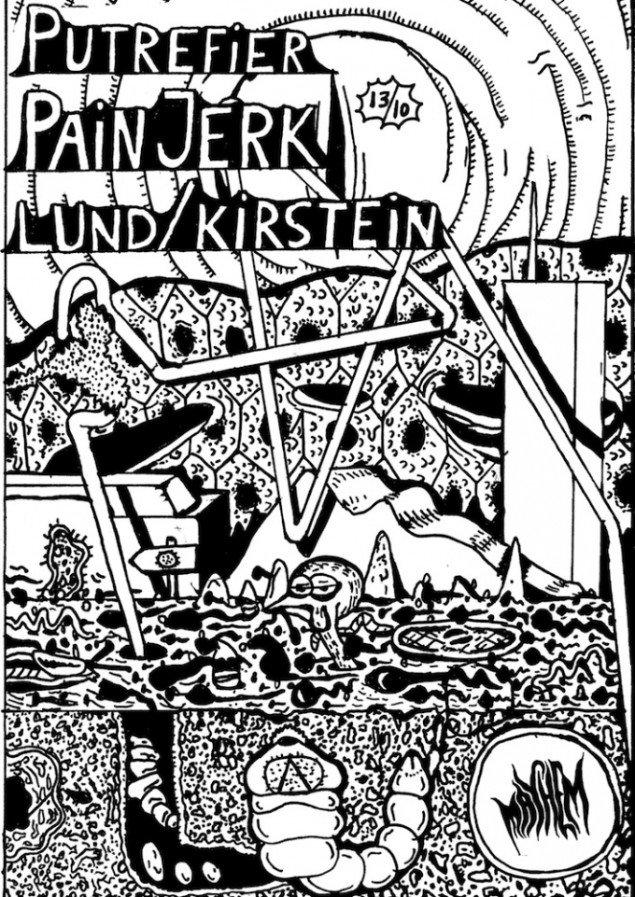 Zven Balslev: Plakat for Putrefier/ Pain Jerk/ LundKirstein, tusch på papir. Courtesy Marie Kirkegaard Gallery