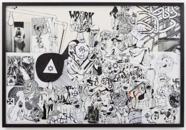 Zven Balslev: Forskellige Ting, Religioner osv. 2013. Collage, 72 x 105 cm. Foto: Christoffer Munch