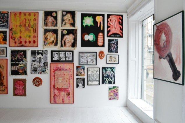 Installation view, Zven Balslev & Andy Bolus: Gourmeat, Marie Kirkegaard Gallery 2014. Foto: Marie Kirkegaard Gallery