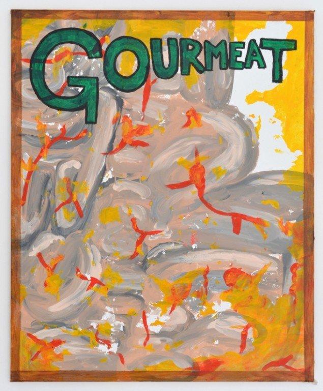 Zven Balslev: Gourmeat, 2014. Akryl på lærred, 100 x 80 cm. Foto: Marie Kirkegaard Gallery