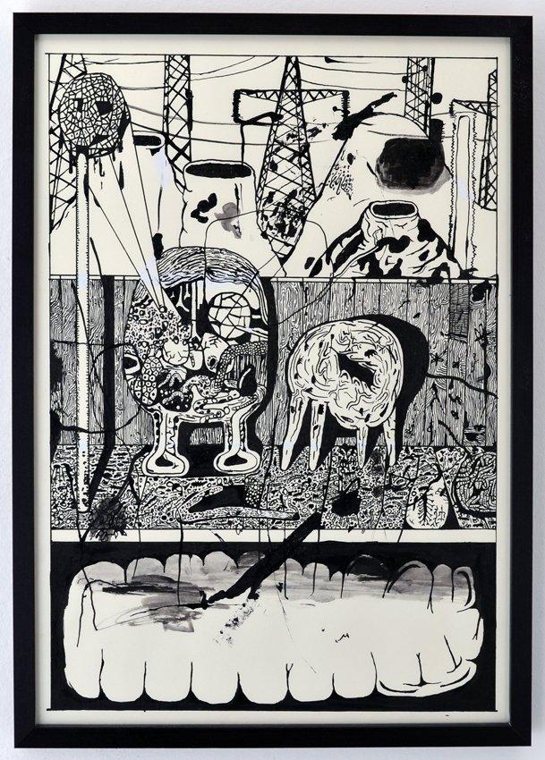 Zven Balslev: Untitled, 2014. Tusch og slettelak på papir, 52 x 37 cm. Foto: Marie Kirkegaard Gallery