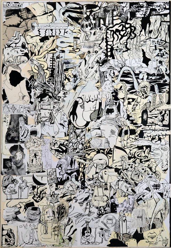 Zven Balslev: Epater la Bourgeoisie, 2011. Collage, tusch, print, slettelak på papir, 102 x 70 cm. Courtesy Marie Kirkegaard Gallery