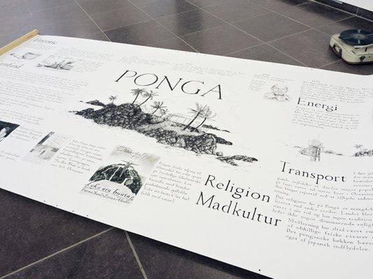 Hartmut Stockter: Gensyn med Ponga - relikter fra Pongas ambassade i Danmark, 2007/14 (blæk, farveblyant på papir, grammofon, shelllakplader). Foto: Jesper Kristiansen