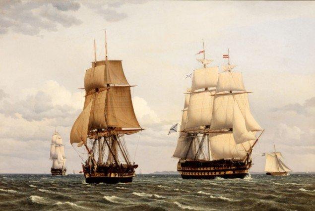 C.W. Eckersberg: To russiske linieskibe og en fregat lægger bi. Foto: Brandts