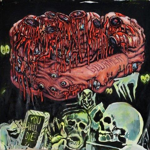 Andy Bolus: You will die, 2014. Olie og selvlysende maling på lærred, 120x120 cm. På GOURMEAT, Marie Kirkegaard Gallery til d. 8/11. Foto: Marie Kirkegaard Gallery