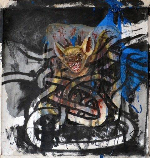 Andy Bolus: Untitled, 2014. Olie og collage på lærred, 50x49 cm. På GOURMEAT, Marie Kirkegaard Gallery til d. 8/11. Foto: Marie Kirkegaard Gallery