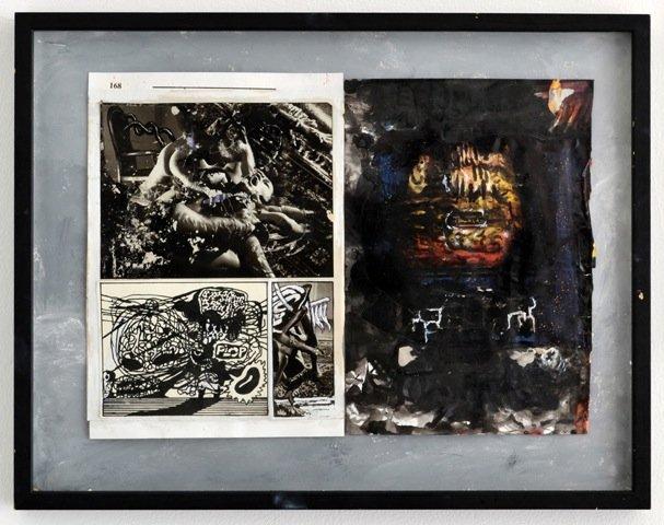 Zven Balslev og Andy Bolus: 168_plop, 2014. Collage, 40x52 cm. På GOURMEAT, Marie Kirkegaard Gallery til d. 8/11. Foto: Marie Kirkegaard Gallery