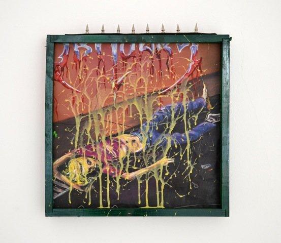 Andy Bolus: Slowly we rot, 2014. Olie og lim på lærred, 50x50 cm. På GOURMEAT, Marie Kirkegaard Gallery til d. 8/11. Foto: Marie Kirkegaard Gallery
