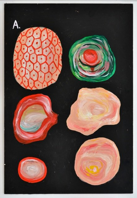 Zven Balslev: A, 2014. Akryl på skumplade, 100x70 cm. På GOURMEAT, Marie Kirkegaard Gallery til d. 8/11. Foto: Marie Kirkegaard Gallery