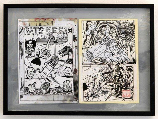 Zven Balslev og Andy Bolus: Rats Nest #II, 2014. Collage, 38x53 cm. På GOURMEAT, Marie Kirkegaard Gallery til d. 8/11. Foto: Marie Kirkegaard Gallery