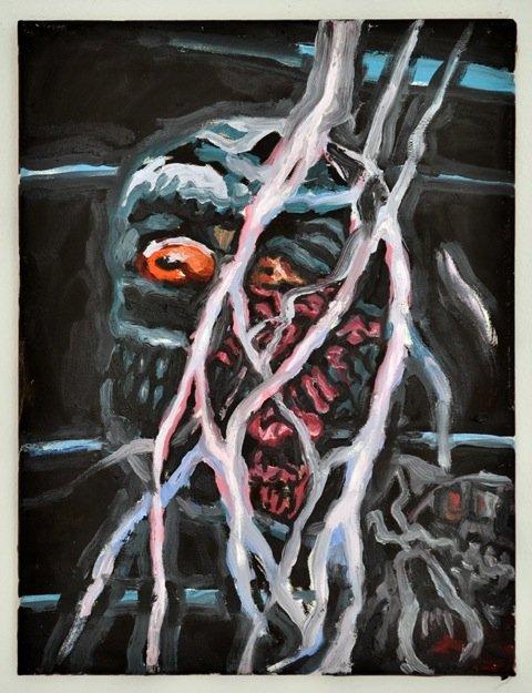 Andy Bolus: Untitled, 2014. Olie på lærred, 40x30 cm. På GOURMEAT, Marie Kirkegaard Gallery til d. 8/11. Foto: Marie Kirkegaard Gallery