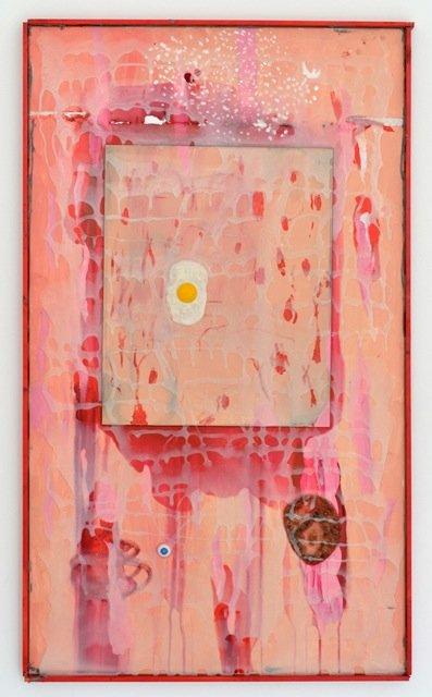 Zven Balslev: Egg, 2014. Akryl på lærred, 118x68 cm. På GOURMEAT, Marie Kirkegaard Gallery til d. 8/11. Foto: Marie Kirkegaard Gallery