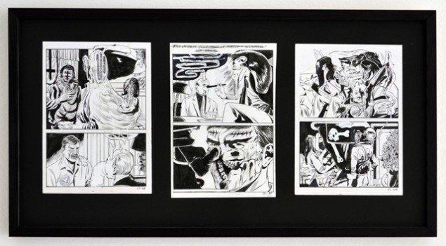 Andy Bolus: Untitled, 2014. Collage, kinesisk blæk, slettelak og kuglepen på papir, 33x65 cm. På GOURMEAT, Marie Kirkegaard Gallery til d. 8/11. Foto: Marie Kirkegaard Gallery