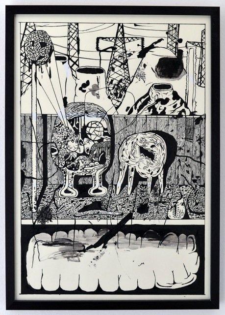 Zven Balslev: Untitled, 2014. Blæk og slettelak på papir, 52x37 cm. På GOURMEAT, Marie Kirkegaard Gallery til d. 8/11. Foto: Marie Kirkegaard Gallery