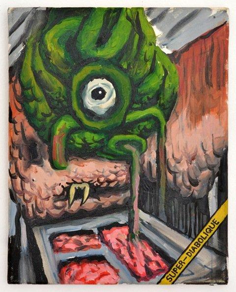 Andy Bolus: Super Diabolique, 2014. Olie på lærred, 30x24 cm. På GOURMEAT, Marie Kirkegaard Gallery til d. 8/11. Foto: Marie Kirkegaard Gallery