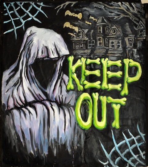 Andy Bolus: Keep out, 2014. Olie på lærred, 140x125 cm. På GOURMEAT, Marie Kirkegaard Gallery til d. 8/11. Foto: Marie Kirkegaard Gallery