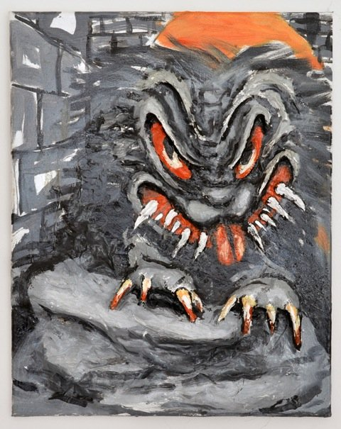 Andy Bolus: Gremlin (After Bill Tracy), 2014. Olie og papmaché på lærred, 50x40 cm. På GOURMEAT, Marie Kirkegaard Gallery til d. 8/11. Foto: Marie Kirkegaard Gallery