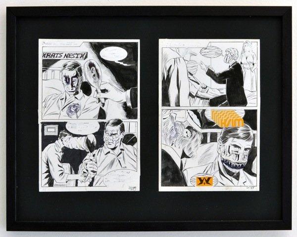 Andy Bolus: Untitled, 2014. Collage, kinesisk blæk, slettelak og kuglepen på papir, 27x37 cm. På GOURMEAT, Marie Kirkegaard Gallery til d. 8/11. Foto: Marie Kirkegaard Gallery