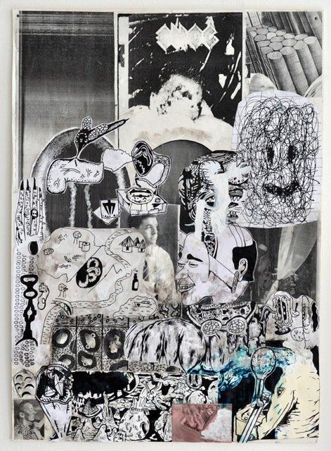 Zven Balslev: Choc, 2014. Collage, 70x50 cm. På GOURMEAT, Marie Kirkegaard Gallery til d. 8/11. Foto: Marie Kirkegaard Gallery
