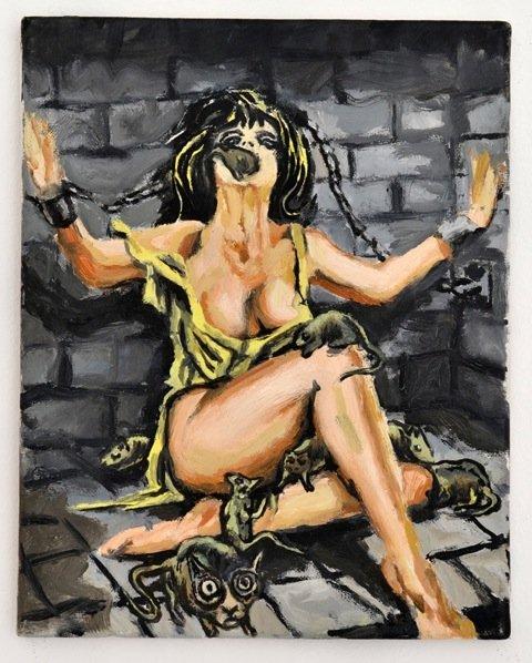 Andy Bolus: Untitled (After Maghella), 2014. Olie på lærred, 30x24 cm. På GOURMEAT, Marie Kirkegaard Gallery til d. 8/11. Foto: Marie Kirkegaard Gallery