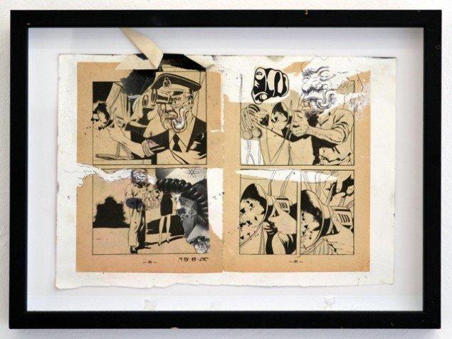 Andy Bolus: E 5-820, 2014. Collage, 27x37 cm. På GOURMEAT, Marie Kirkegaard Gallery til d. 8/11. Foto: Marie Kirkegaard Gallery