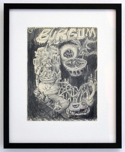 Andy Bolus: Burgum, 2014. Blyant på papir, 40x33 cm. På GOURMEAT, Marie Kirkegaard Gallery til d. 8/11. Foto: Marie Kirkegaard Gallery