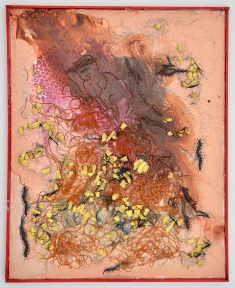 Zven Balslev: New Materialism, 2014. Akryl og lim på lærred, 100x80 cm. På GOURMEAT, Marie Kirkegaard Gallery til d. 8/11. Foto: Marie Kirkegaard Gallery