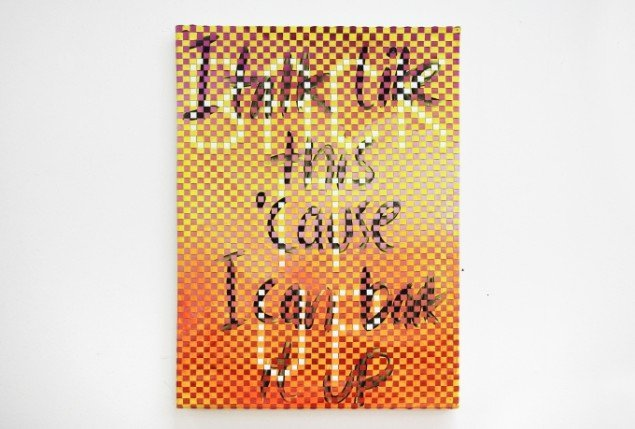 Ditte Ejlerskov: The Talking Painting, 2014. Olie på lærred, 46x65 cm. På Bow Down Bitches, LARMgalleri til d. 8/11. Foto: P. Wessel