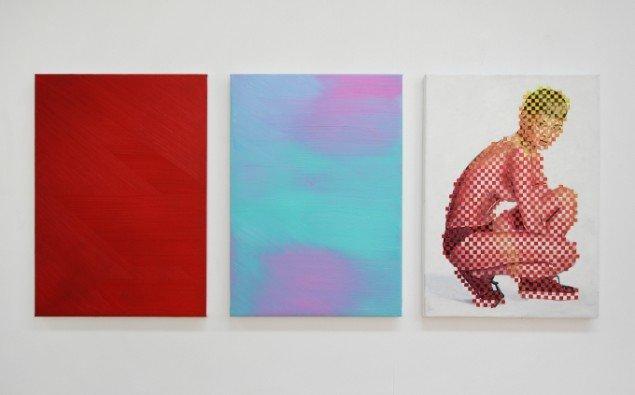 Ditte Ejlerskov: The Surfy Rihanna Triptych, 2014. Olie på lærred, 3 stk. af 46x65 cm. På Bow Down Bitches, LARMgalleri til d. 8/11. Foto: P. Wessel