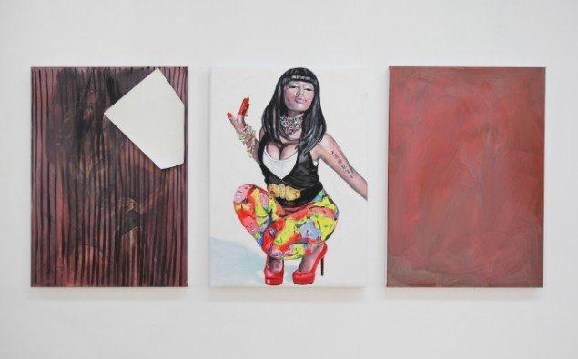 Ditte Ejlerskov: The Rouge Nicki Minaj Triptych, 2014. Olie på lærred, 3 stk. af 46x65 cm. På Bow Down Bitches, LARMgalleri til d. 8/11. Foto: P. Wessel