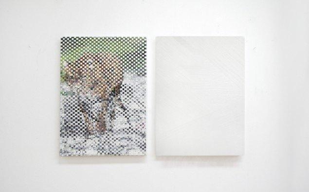 Ditte Ejlerskov: The Pale Diptych, 2014. Olie på lærred, 2 stk. af 46x65 cm. På Bow Down Bitches, LARMgalleri til d. 8/11. Foto: P. Wessel