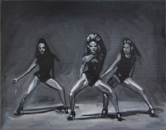 Ditte Ejlerskov: The Single Ladies Painting, 2014. Olie på lærred, 24x19 cm. På Bow Down Bitches, LARM Gallery til d. 8/11. Foto: P. Wessel