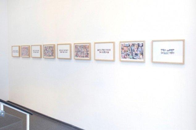 Heine Kjærgaard Klausen: Paperman Plasticface Candyheart, installationview, SPECTA, 2014. Foto: Erling Lykke Jeppesen