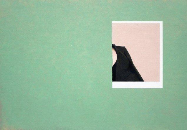 Rune Elgaard:  Ark, kvinde i frakke (73), 2014. Olie og akryl på lærred, 59x85 cm. På Epiloger, KANT. Foto: Lars Morell