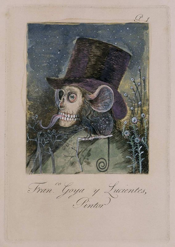 """En lidt anden udgave af Goyas berømte selvportræt fra den satiriske serie """"Los caprichos"""". Like a dog returns to its vomit (No.1), Jake and Dinos Chapman, 2005. Foto: Pressefoto."""