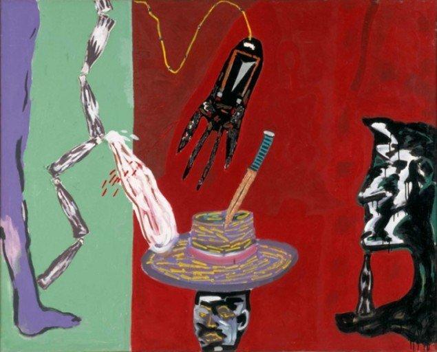 Kehnet Nielsen har lavet det værk, som også blev en legendarisk udstillingstitel: Kniven på hovedet (1982). Statens Museum for Kunst.