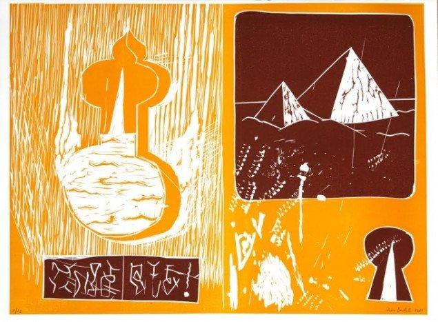 Værk af Zven Balslev. På Grafiske forbindelser, Vendsyssel Kunstmuseum til d. 1/2. Pressefoto