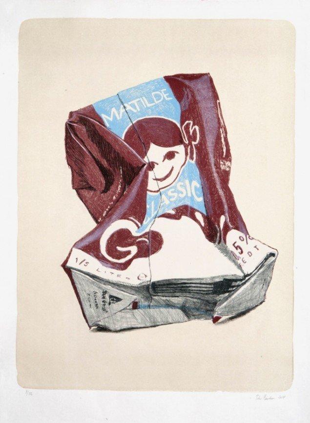 Værk af Peter Carlsen. På Grafiske forbindelser, Vendsyssel Kunstmuseum til d. 1/2. Pressefoto
