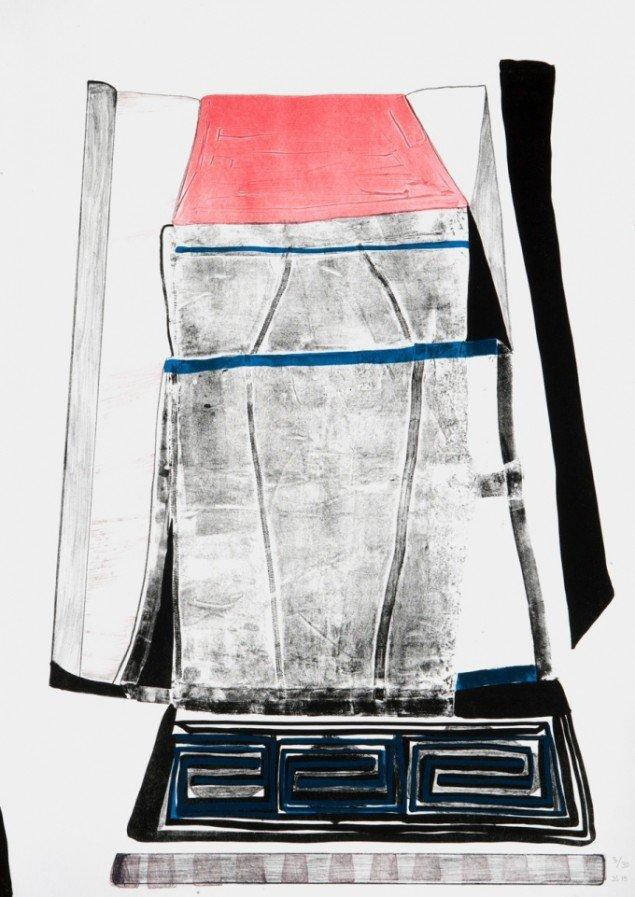 Værk af Julie Sass. På Grafiske forbindelser, Vendsyssel Kunstmuseum til d. 1/2. Pressefoto