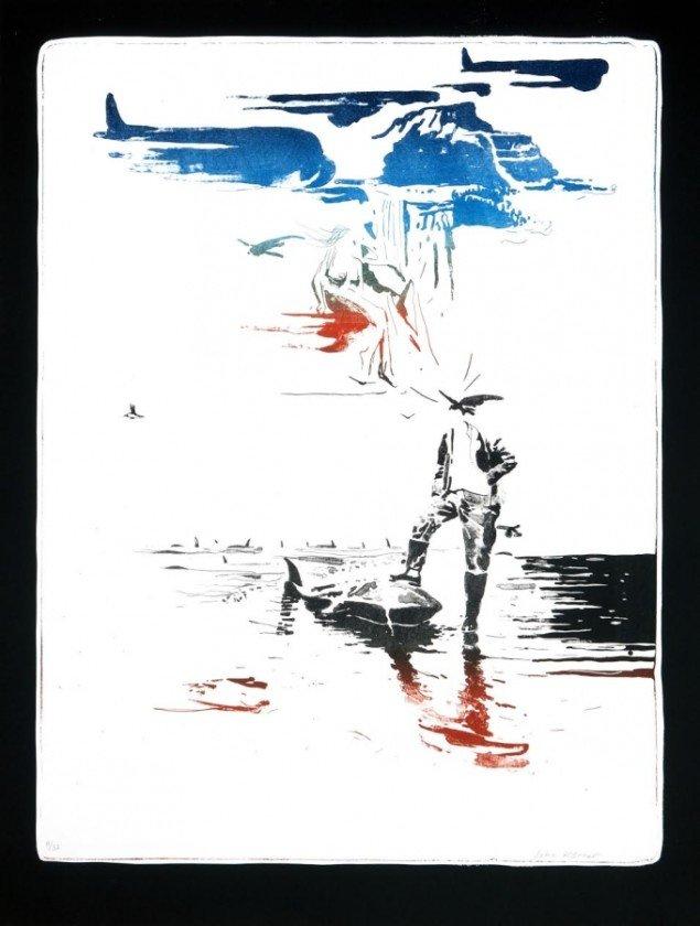 Værk af John Kørner. På Grafiske forbindelser, Vendsyssel Kunstmuseum til d. 1/2. Pressefoto