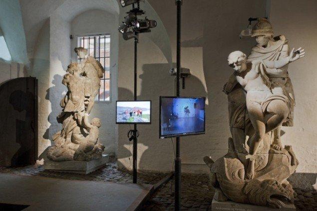 Frans Jacobis videoinstallationer Nordmandsdalen og Som det er her i landet på udstillingen Skilsmissen, 2014 frem til 21. dec. Foto: Erling Lykke Jeppesen