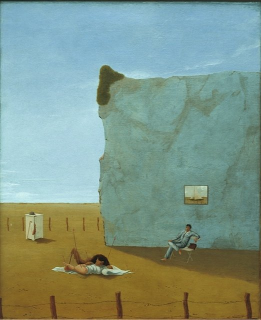 Sven Dalsgaard: Poetens Eftermiddag, 1942. I 1940erne ses Dalsgaards flirten med den psykofotograqfiske surrealisme tydeligt. Han vender senere tilbage med et mere selvstændigt bud på en form for ny-surrealistisk maleri.