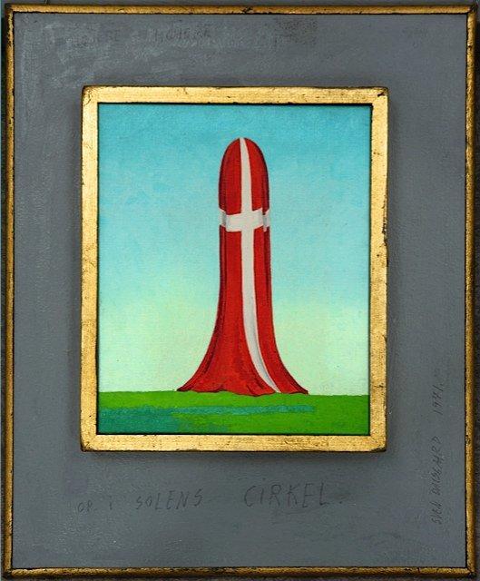 Sven Dalsgaard: Højere højere op i solens cirkel, 1972. Et eksempel på hvordan, Dalsgaard annekterer nationalsymbolet og bytter om på tegnenes orden: Han potenserer glæden ved nationalsymbolet til bristepunktet.