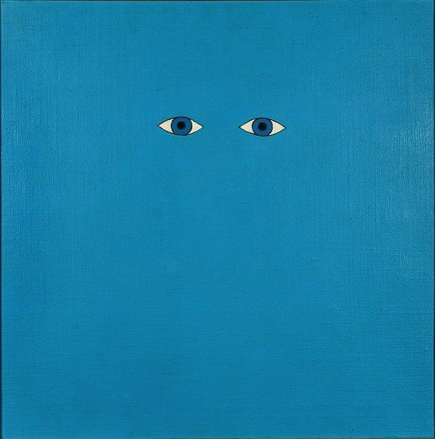 Sven Dalsgaard: Inger, 1963. De blå øjne som stirrer igen fra værket er emblematiske for Dalsgaards eksplicitte animisme. Værket er charmerende naivt og humoristisk. Det ser tilbage på os og vil i dialog.
