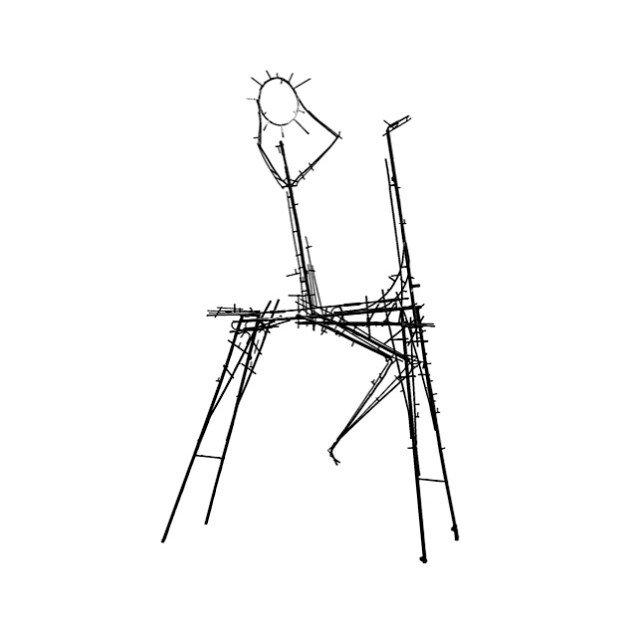 Sven Dalsgaard: Solrytteren, 1955. Skulpturen er ' skåret ind til benet', så kun det stativ, som normalt bærer leret, står tilbage som den egentlige skulptur. Denne type figurer findes i samme periode i Dalsgaards malerier.