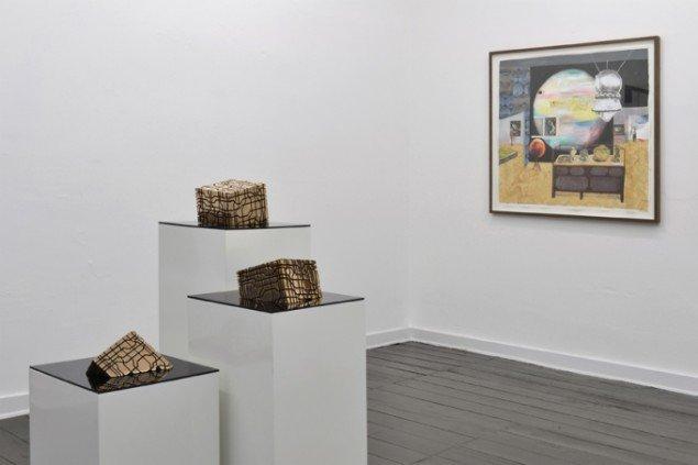 Udstillingsview med værker af Toke Flyvholm & Mette Vangsgaard. På Artist's Choice, Marie Kirkegaard Gallery. Pressefoto