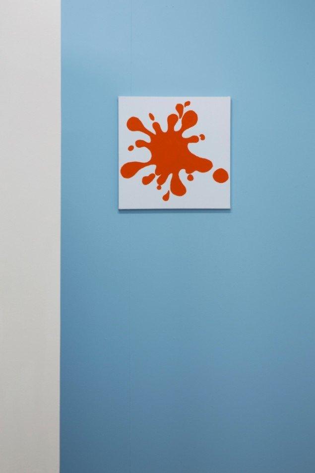 Merete Vyff Slyngborg: Paint Blob Prob, 2013. Maling på lærred, 40x40 cm. På A Perhaps Tasteful Image, GREEN IS GOLD. Foto: Søren Aagaard