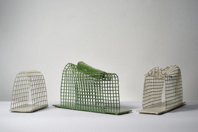 Tre gitterskulpturer af Esben Klemann fra 2014, alle glaseret stentøj. Foto: Pernille Klemp.